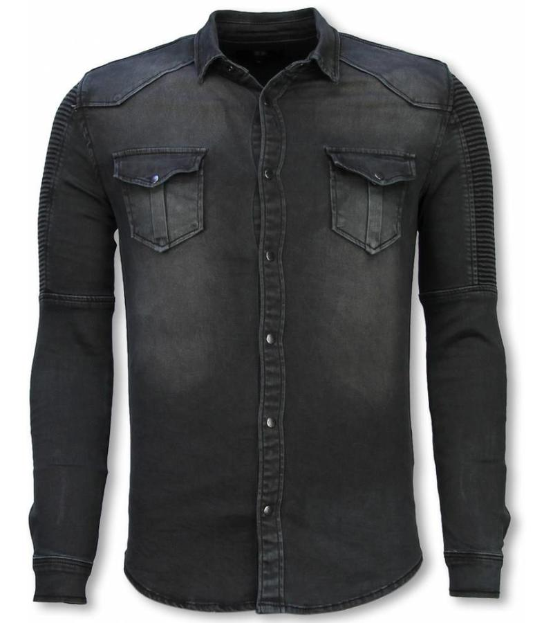 Diele & Co Biker Denim Shirt - Slim Fit Ribbel Stonewashed - Grey