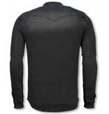 Diele & Co Biker Denim Collar Shirts Men - Grey