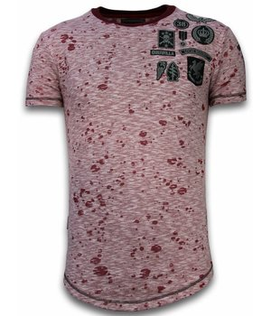 Local Fanatic Embroidery Patches Long Fit Men T Shirt - Red