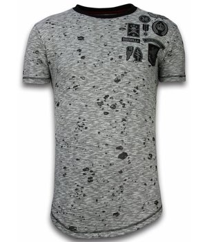 Local Fanatic Embroidery Patches Longfit Men T Shirt - Grey