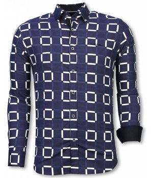 Gentile Bellini Italian Shirts - Slim Fit Long Sleeve Shirt - Block Pattern - Blue