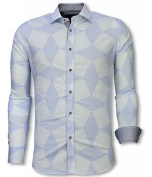 Gentile Bellini Italian Shirts - Slim Fit Long Sleeve Shirt - Line Pattern - Light Blue