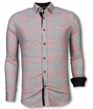 Gentile Bellini Italian Shirts - Slim Fit Long Sleeve Shirt - Line Pattern - Red