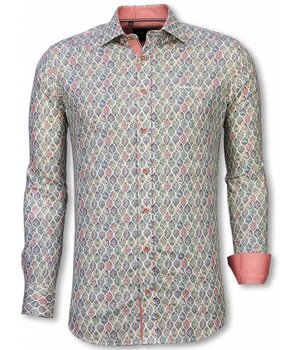 Gentile Bellini Italian Shirts - Slim Fit Long Sleeve Shirt - Pastel Flower Pattern - White