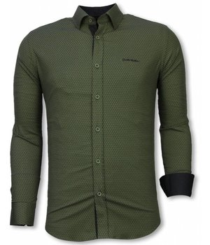 Gentile Bellini Italian Shirts - Slim Fit Long Sleeve Shirt - Reptile Skin Pattern - Green