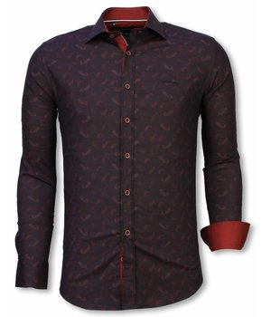 Gentile Bellini Italian Shirts - Slim Fit Long Sleeve Shirt - Yang Pattern - Burgundy