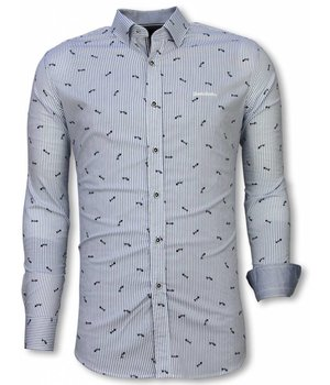 Gentile Bellini Italian Shirts - Slim Fit Long Sleeve Shirt - Fishbone Pattern - Light Blue