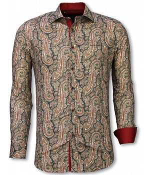 Gentile Bellini Italian Shirts - Slim Fit Long Sleeve Shirt - Cashemira Paisley Pattern - Green