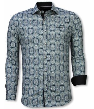 Gentile Bellini Italian Shirts - Slim Fit Long Sleeve Shirt - Ornament Pattern - Blue