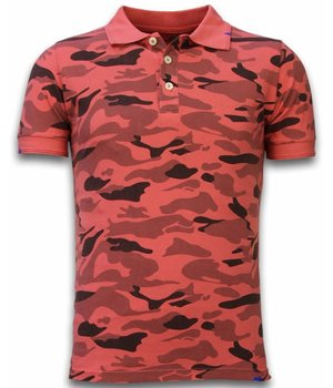 Bread & Buttons Casual Camo Polo Shirt - Washed Camouflage - Red