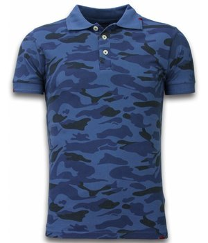Bread & Buttons Casual Camo Polo Shirt - Washed Camouflage - Blue
