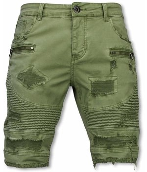 Enos Men Shorts - Slim Fit Damaged Biker Jeans With Zippers - Green