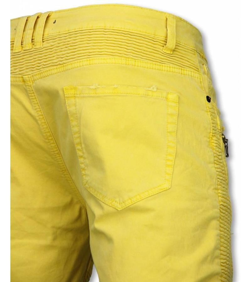 Enos Men Shorts - Slim Fit Damaged Biker Jeans With Zippers - Yellow
