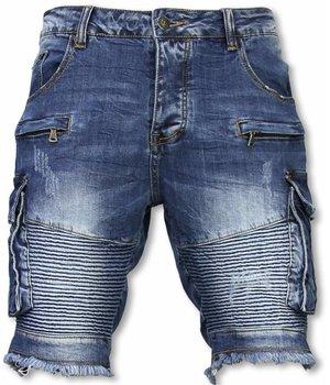Enos Multi Pocket Biker Denim Shorts - Blue