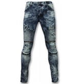 Urban Rags  Biker Jeans - Slim Fit Ripped Jeans With Paint Drops - Blue