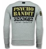 Local Fanatic Bad Dog Sweater Rhinestone Print - Grey