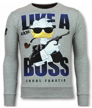 Local Fanatic 007 Duck Sweater Like A Boss - Grey