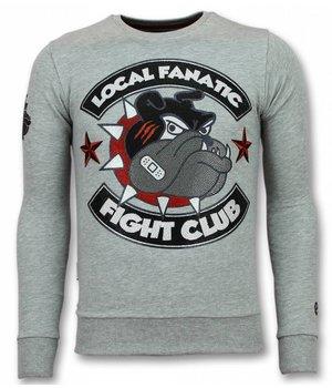 Local Fanatic Fight Club Sweater - Bulldog Sweater Men - Grey