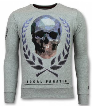 Local Fanatic Skull Rhinestone Sweater - Sweater Grey Cool - Grey