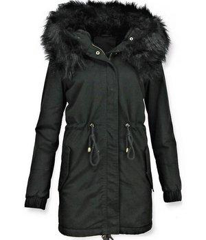 Z-design Faux Fur Collar Coat Ladies - Black