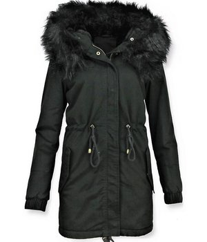 Z-design Ladies Winter Coat - Imitation Fur Coat Army - Black