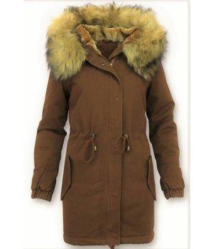 Z-design Faux Fur Collar Coat Ladies - Brown