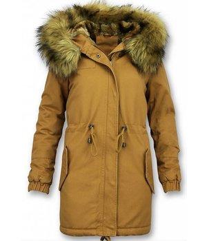 Z-design Faux Fur Collar Coat Ladies - Yellow