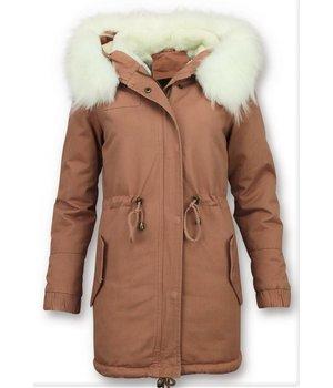 Z-design Faux Fur Collar Coat Ladies - Pink
