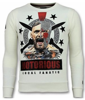 Local Fanatic Notorious Men Sweater - Mcgregor Warrior Rhinestones - White