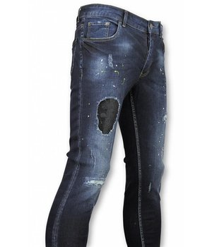 John H Rhinestones Skull Paint Drops Jeans - 75310 - Blue