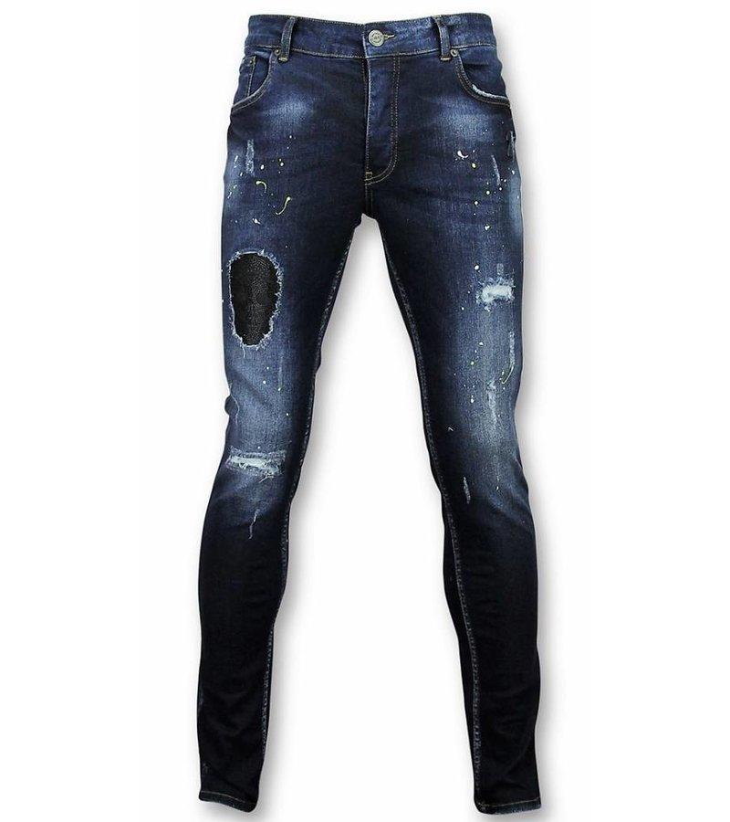 John H Exclusive Men's Jeans - Slim Fit Rhinestones and Drops - 75310 - Blue