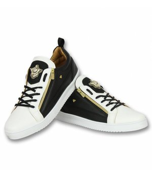 Cash Money Men Shoes Low Sneaker - Bee Black White Gold - CMS97 - White/Black