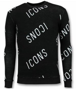UNIMAN ICONS Print Sweater - ICONS Sweater Men - Black