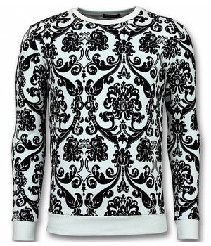UNIMAN Flockprint Primt Sweater - Leaves Sweater Men - White