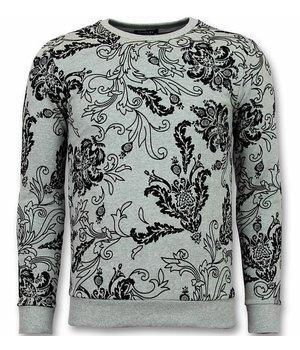 UNIMAN Flockprint Primt Sweater - Men Leaves Sweater - Grey