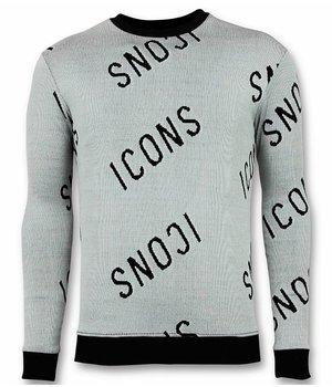 UNIMAN ICONS Printed Men Sweater - Grey