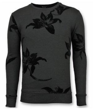 UNIMAN Flock Print Sweater - Leaves Black Sweater Men - Black