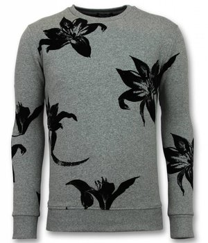 UNIMAN Flock Print Sweater - Men Leaves Black Sweater - Grey