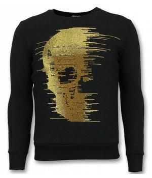 UNIMAN Skull Rhinestone Sweater - Gold Skull Sweater Men - Black