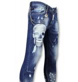 Mario Morato Exclusive Men's Jeans - Skinny Fit Skull Print - 1482 - Blue