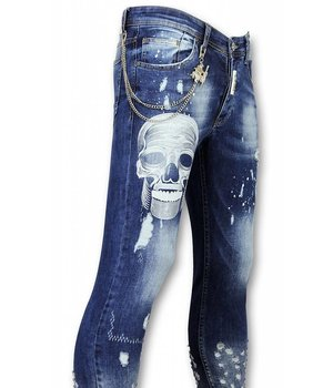 Mario Morato Exclusive Men's Jeans - Skinny Fit Skull Print - 1482 - Blue