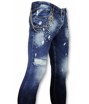 Mario Morato Skull Studs Ripped Jeans Men - 1482 - Blue