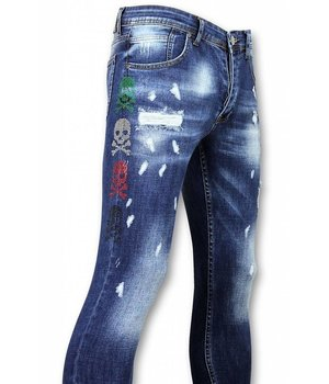 Mario Morato Exclusive Men's Jeans - Skinny Fit Colored Skull - 1482 - Blue