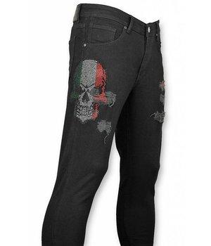 Mario Morato Rhinestones Skull Ripped Jeans Men - 1482 - Black