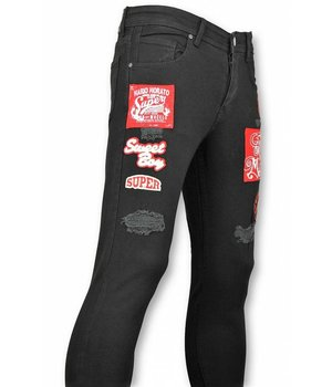 Mario Morato Exclusive Men's Jeans - Skinny Fit Patches Denim - 1480 - Black