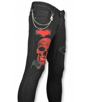 Mario Morato Exclusive Men's Jeans - Skinny Fit Ripped Denim Skull - 1510 - Black