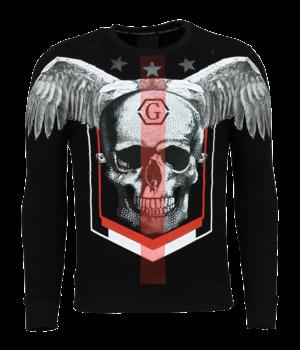 Golden Gate Men's Rhinestone Sweater - Death Skull Star Sweater - Black