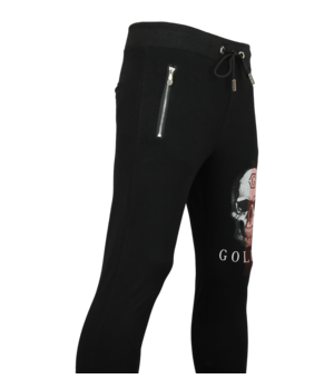 Golden Gate Skull Print Skinny Sweatpants - Black