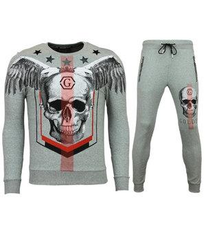 Golden Gate Winged Skull Men Tracksuit Set - Grey