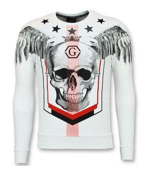 Golden Gate Winged Skull Men Sweatshirt - White